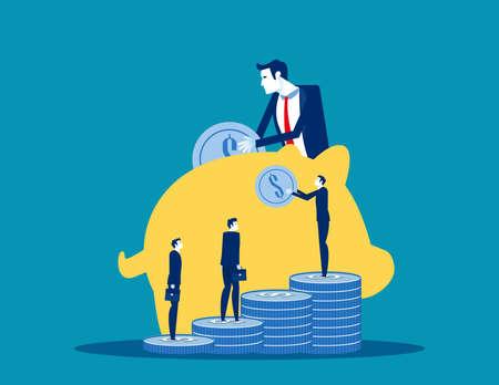 The Business people save investment. Investing plans concept Vektoros illusztráció