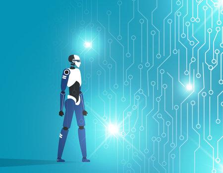 Robot virtual reality world. Futuristic development investment