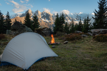 Tent with fireplace in front of Mont Blanc, Tour de Mont Blanc