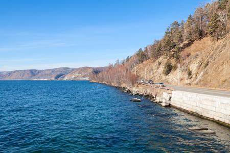 listvyanka: Forest, hills and road near lake Baikal  Listvyanka Russia