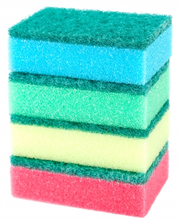 Colored sponges for washing dishes photo
