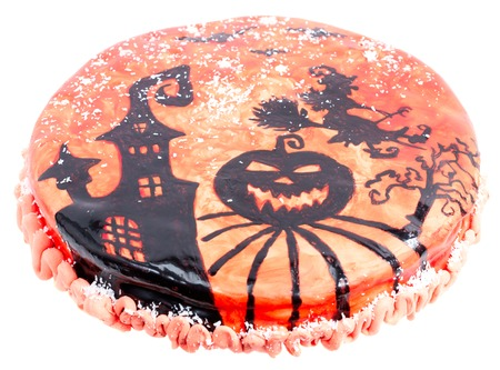 Handwork pie with an illustration for a halloween holiday Stock Photo