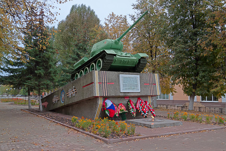 t34: Russia. Unecha. T34-85 tank - a monument to the heroes of the Great Patriotic War