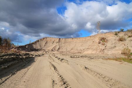 sand quarry: Quarry sand mining on the sky background
