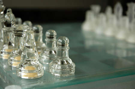 standoff: glass  crystal chess set close up