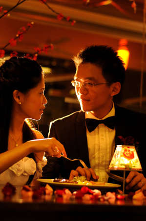 couple having dinner in romantic restaurant  photo