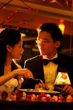 couple having dinner in romantic restaurant Stock Photo - 6432454