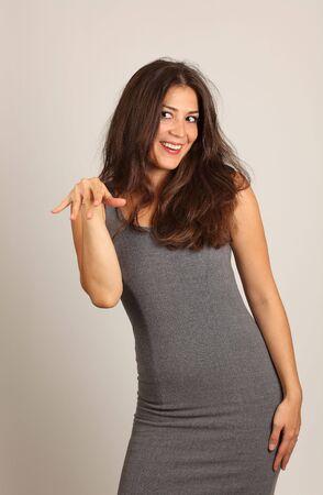 Studio Shot of a Stunning Brunette Funny Girl photo