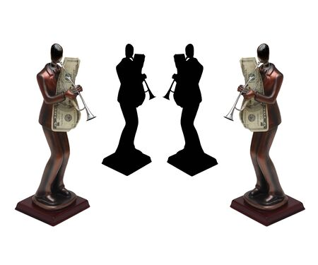 Two Statues with theirs shadow of trumpet players with money on isolated white