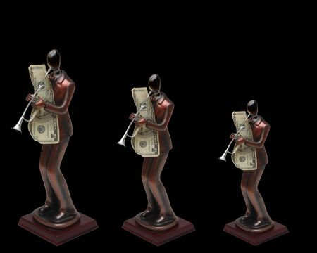 Three statues of trumpet players with money on isolated black background