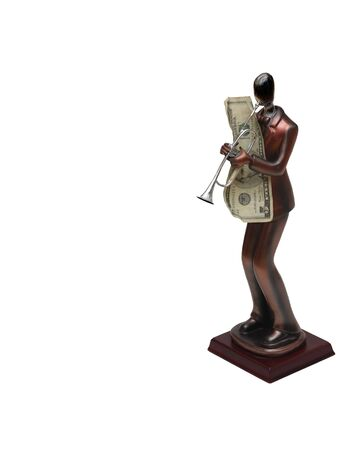 Statue of trumpet player with money on isolated white