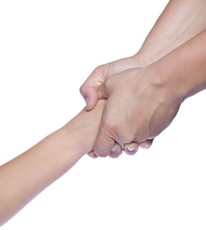 Mothers hands holding baby hand, on white isolated background photo