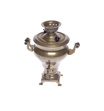 Russian old samovar, teapot on isolated white Stock Photo - 5903551