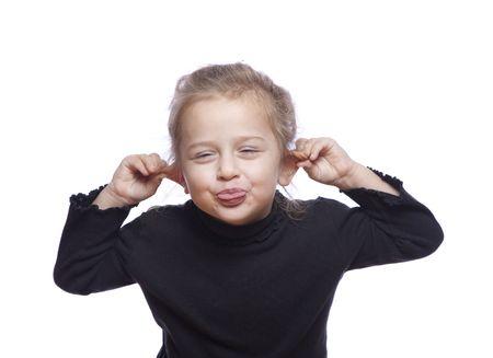 Kleine mooie funny Girl op wit geïsoleerd  Stockfoto - 6038560