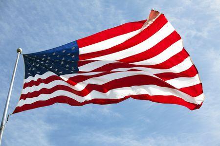 Foto van de Amerikaanse vlag wappert in de wind