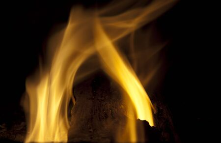 Beautiful flame over black background Banco de Imagens