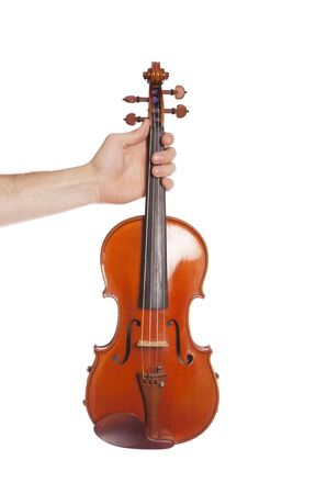 violins: Males hand holding viola on isolated white Stock Photo