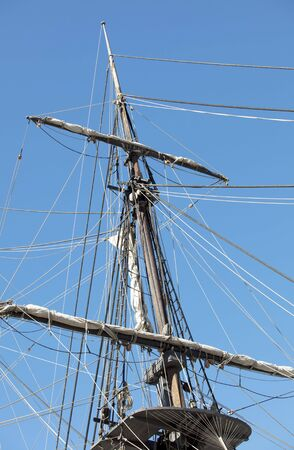 Part view of front mast of Star Of India old ship in San Diego California photo