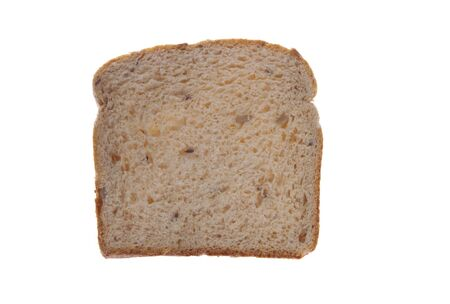One slice of wheat bread on white isolated Фото со стока