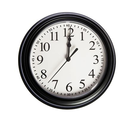 12 oclock: Wall clock shows 12 oclock on white isolated background Stock Photo