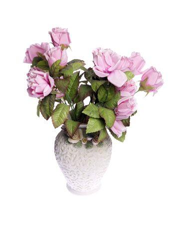 vase: Roses in vase Stock Photo