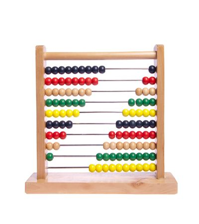 Multi color abacus on white isolated Stock Photo