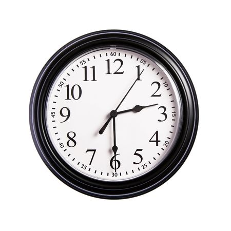 Wall clock shows time 2:30 on white isolated background Stock Photo - 6142358