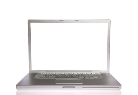 Laptop with white screen on white isolated Stock Photo - 6142464