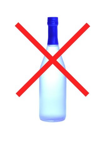 No alcohol sign with super blue bottle on white isolated photo