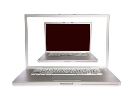 Two laptops with white and black screens on white isolated Stock Photo - 6142481