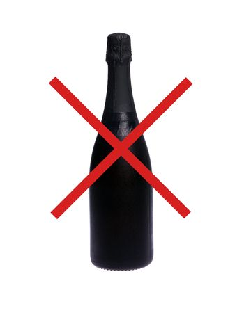 No alcohol drinking sign with one cold champagne bottle on white isolated photo
