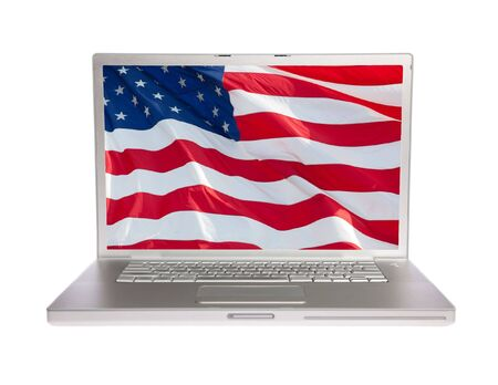 aluminum: US flag on laptop on white isolated