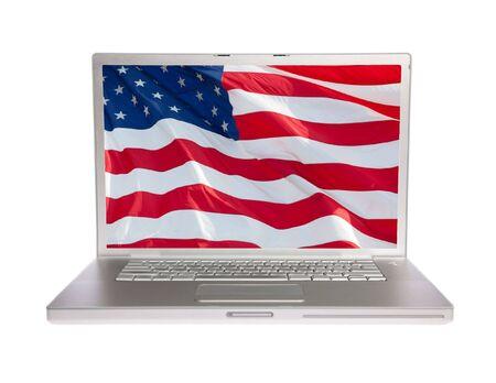 US flag on laptop on white isolated photo