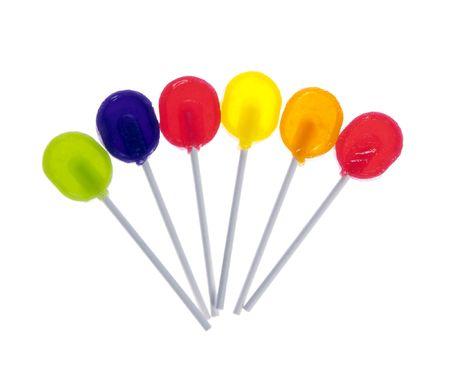 sugarplum: Six lollipops isolated on white background.   Stock Photo