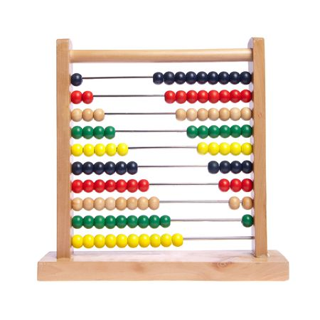 Multi color abacus on white isolated 版權商用圖片