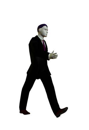 3D illustration of wallking businessman