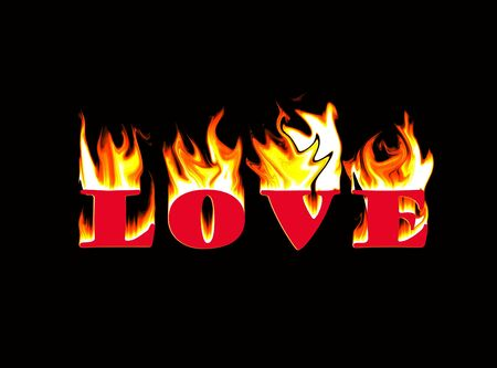 sizzle: Word love  made with  flame Stock Photo