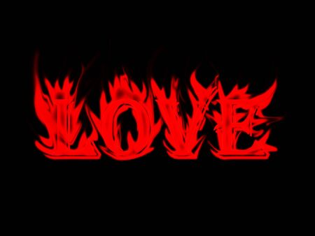 sizzle: Word love made from flame