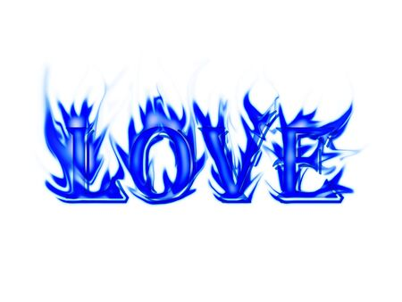 Word love made from flame