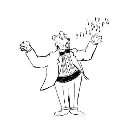 Illustration of singing bear