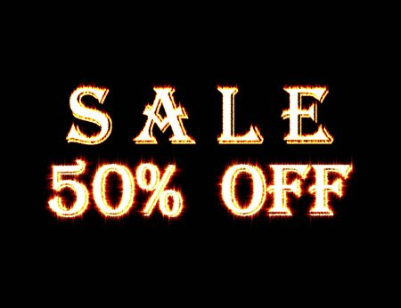 Word Sale 50% off made from flame Stock fotó