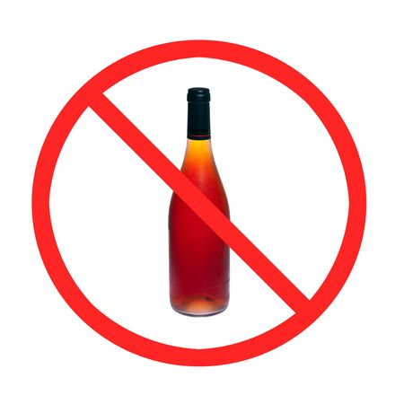 No alcohol sign with one wine bottle on white isolated photo