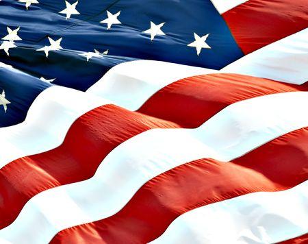 Foto van de Amerikaanse vlag wappert in de wind  Stockfoto - 6250088