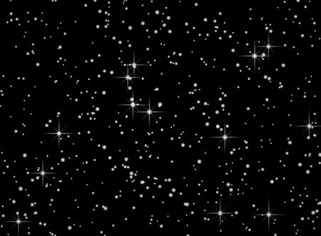 Night sky with stars on a black background illustration