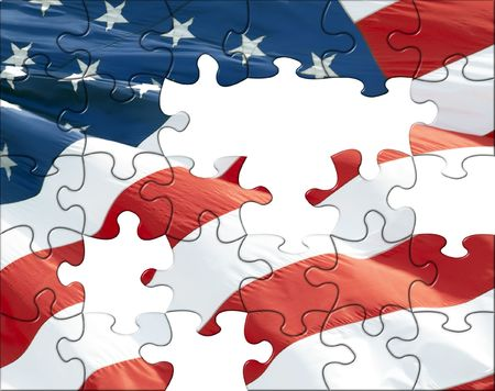 accomplish: Illustration of American flag puzzles