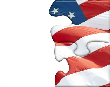 Illustration of American flag puzzles