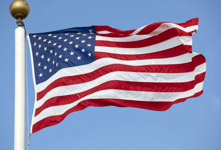 white wave: American flag waving in the wind