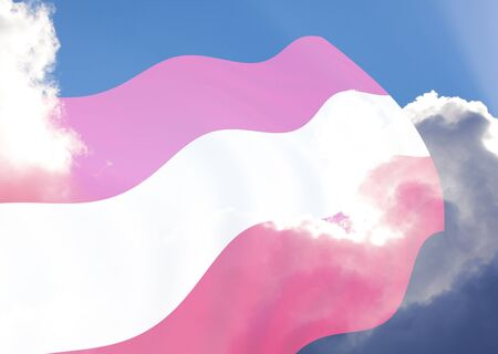 teutonic: Official Flag of Austria over the cloudy sky, illustration Stock Photo