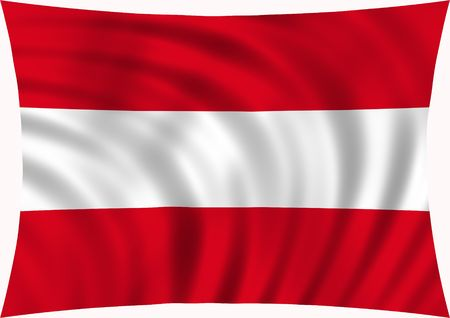 Official Flag of Austria waving in the wind, illustration