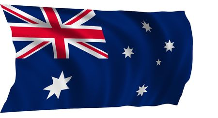 Illustration of flag of Australia waving in the wind (see more flags in my collection)